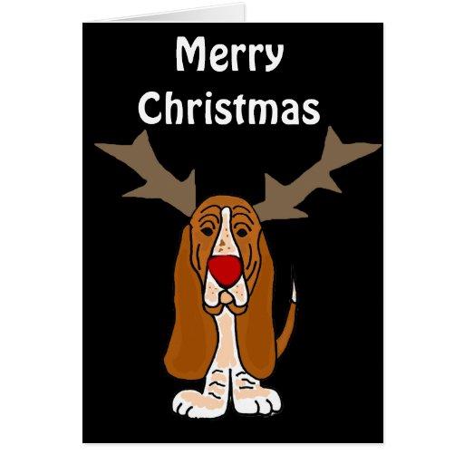 Funny basset hound christmas reindeer card zazzle for Funny reindeer christmas cards
