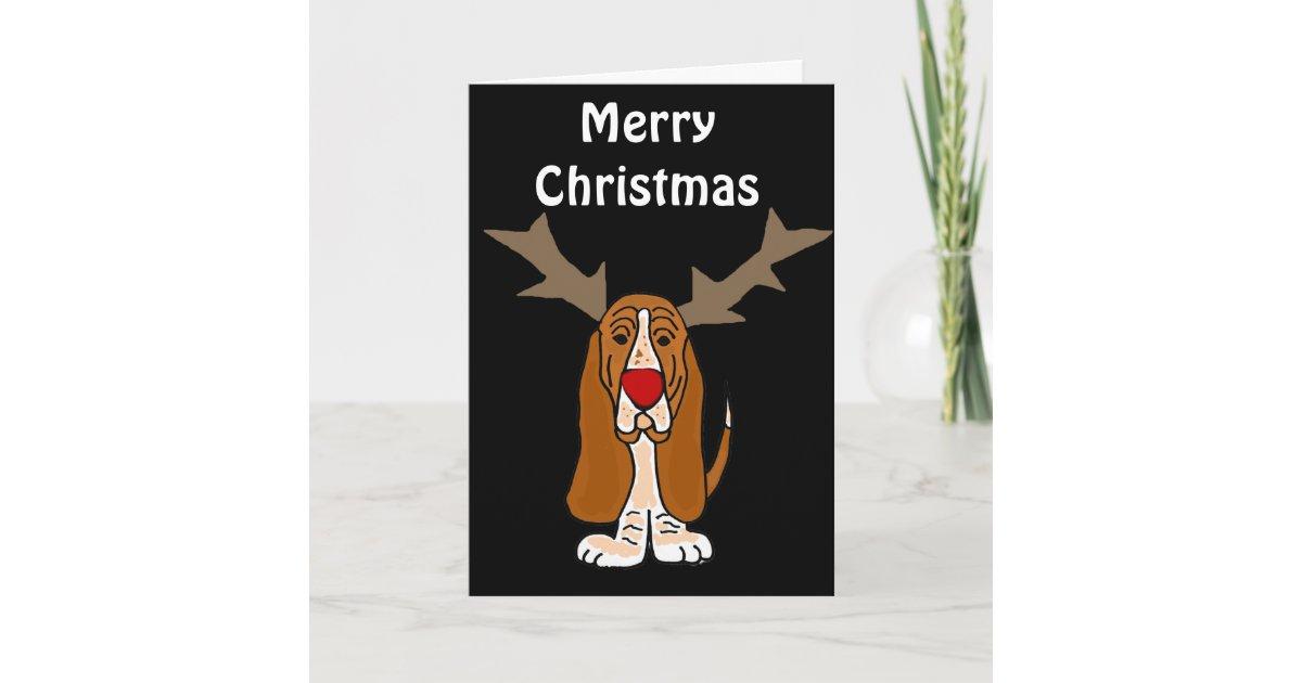Funny Basset Hound Christmas Reindeer Holiday Card | Zazzle.com