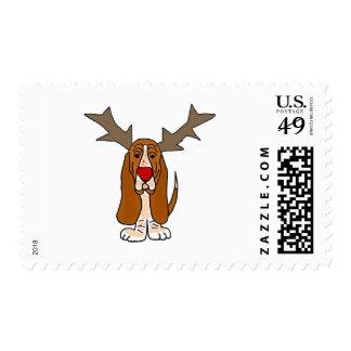Funny Basset Hound Christmas Reindeer Postage