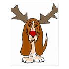 Funny Basset Hound Christmas Reindeer Postcard