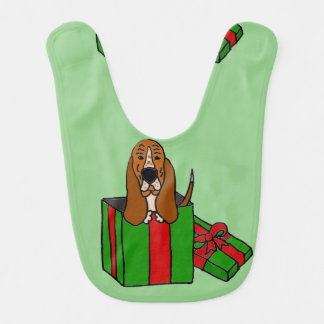 Funny Basset Hound Dog in Christmas Package Baby Bib