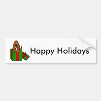 Funny Basset Hound Dog in Christmas Package Bumper Sticker