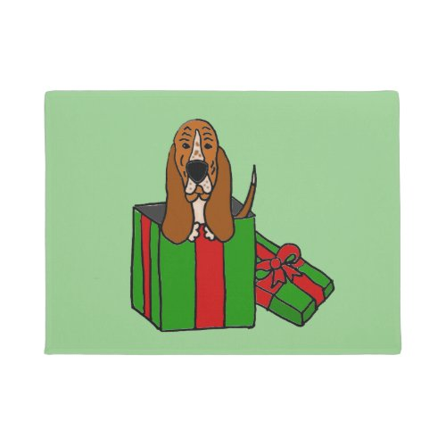 Funny Basset Hound Dog in Christmas Package Doormat