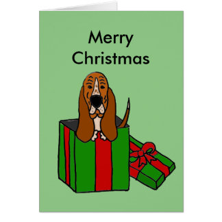 Funny Basset Hound Dog in Christmas Package Greeting Card