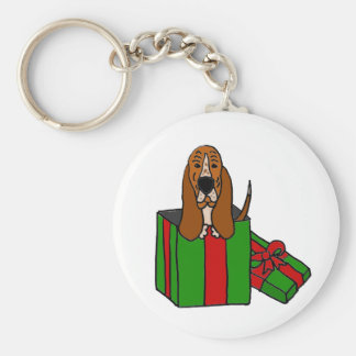 Funny Basset Hound Dog in Christmas Package Keychain