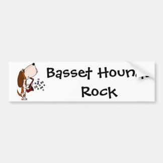 Funny Basset Hound Dog Playing Saxophone Car Bumper Sticker
