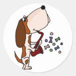 Funny Basset Hound Dog Playing Saxophone Classic Round Sticker