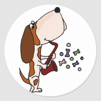 Funny Basset Hound Dog Playing Saxophone Classic Round Sticker