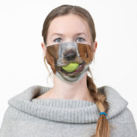 Funny Basset Hound Dog Tennis Ball Adult Cloth Face Mask