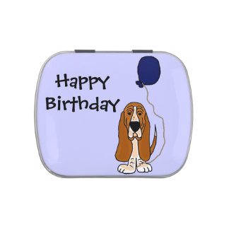 Funny Basset Hound Holding Balloon Candy Tins