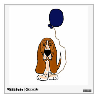 Funny Basset Hound Holding Balloon Wall Decals