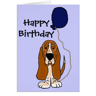 Funny Basset Hound Holding Blue balloon Greeting Card