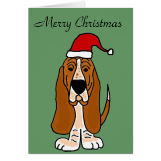 Funny Basset Hound in Santa Hat Christmas Art Greeting Card