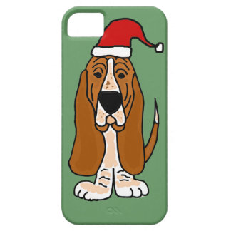 Funny Basset Hound in Santa Hat Christmas Art iPhone 5 Cover