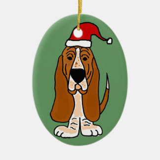 Funny Basset Hound in Santa Hat Christmas Art Ceramic Ornament