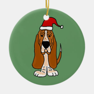 Funny Basset Hound in Santa Hat Christmas Art Double-Sided Ceramic Round Christmas Ornament