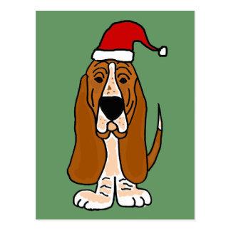 Funny Basset Hound in Santa Hat Christmas Art Postcard