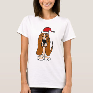 Funny Basset Hound in Santa Hat Christmas Art T-Shirt