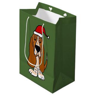 Funny Basset Hound in Santa Hat Christmas Gift Bag Medium Gift Bag