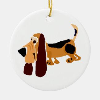 Funny Basset Hound Primitive Art Christmas Ornaments