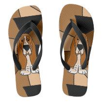 Funny Basset Hound Puppy Dog Flip Flops