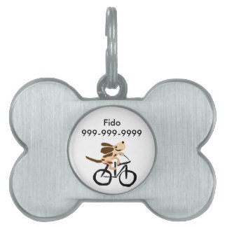 Funny Basset Hound Riding Bicycle Pet Name Tag