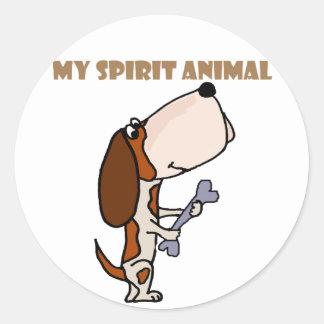 Funny Basset Hound Spirit Animal Classic Round Sticker
