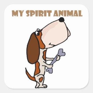 Funny Basset Hound Spirit Animal Square Sticker