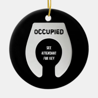 Funny Bathroom Door Hanger 2 Sided Double-Sided Ceramic Round Christmas Ornament