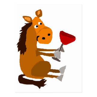 Funny Bay Horse Drinking Red Wine Postcard
