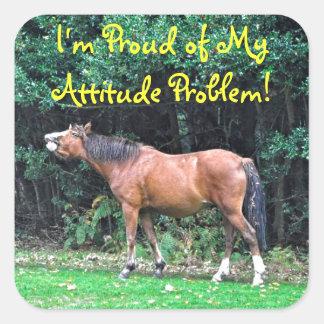 Funny Bay Pony Bad Attitude Horse Photo Square Stickers