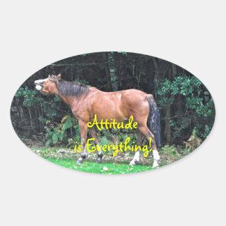 Funny Bay Pony Bad Attitude Horse Photo Oval Sticker