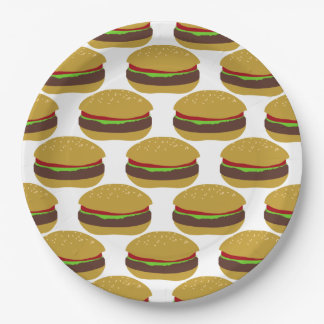 Funny BBQ Burger Pattern Paper Plate