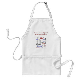 Funny BBQ Chef for Golf Fan Adult Apron