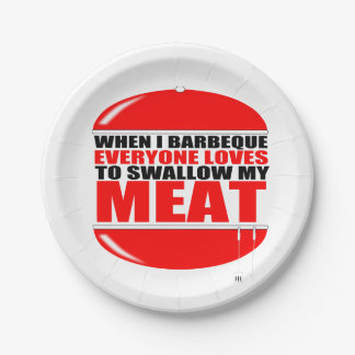 funny BBQ Saying Paper Plate