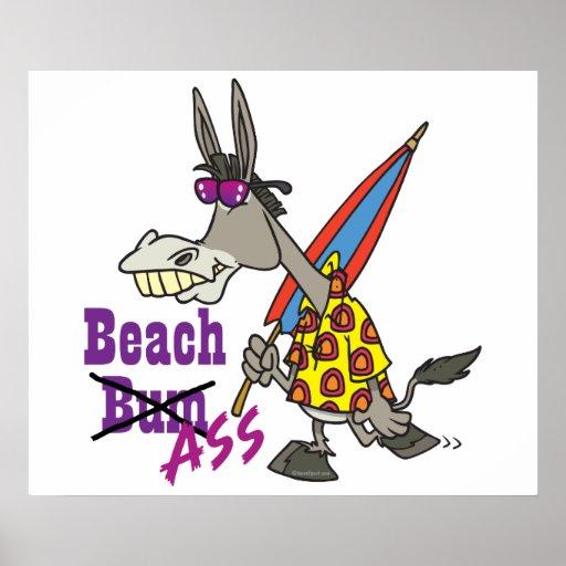 funny beach bum donkey ass silly cartoon posters    Donkey Bum