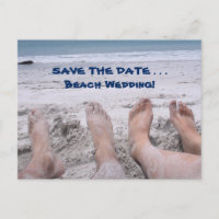 Funny Beach Feet Wedding Save the Date Card