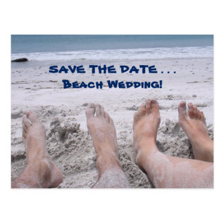 Funny Beach Feet Wedding Save the Date Card