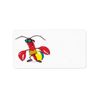 funny beach going  lobster cartoon address label