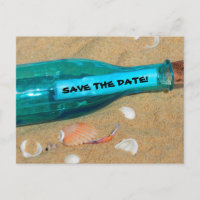 Funny Beach Wedding Save the Date Message Announcement Postcard