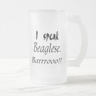 Funny Beagle Bark Frosted Glass Beer Mug