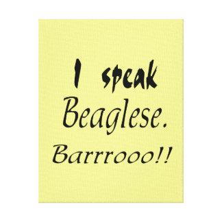 Funny Beagle Bark - Yellow Background Canvas Print