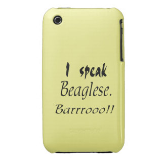 Funny Beagle Bark - Yellow Background iPhone 3 Covers