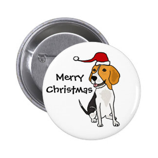 Funny Beagle Dog in Santa Hat Christmas Art Pinback Buttons