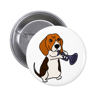 Funny Beagle Dog Playing Trumpet Pinback Button