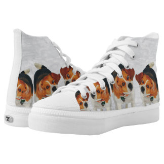 Funny Beagle Ears Flapping Beagle Line Dancing High-Top Sneakers