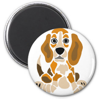 Funny Beagle Puppy Abstract Art 2 Inch Round Magnet