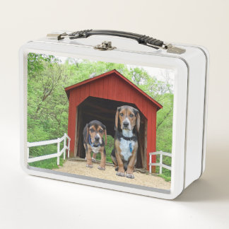 Funny Beagle Pups At The Red Covered Bridge Metal Lunch Box