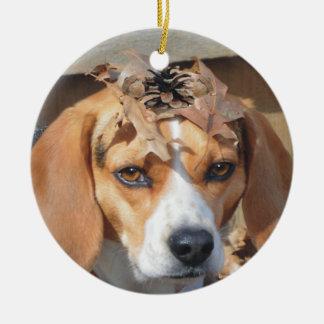 Funny Beagle Wearing Leaves Acorns on Head Ceramic Ornament