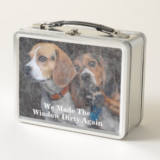 Funny Beagles We Made The Window Dirty Again Metal Lunch Box